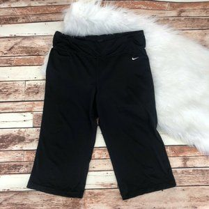 Nike Wide Leg Cropped Capri Yoga Pants Sz L Black